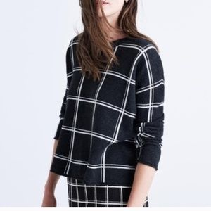 Madewell Double Windowpane Pullover Sweater Gray